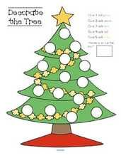Color and count the decorations on the Christmas tree. Preschool FREE