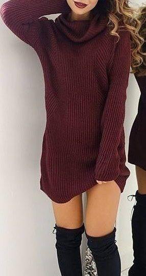 #fall #fashion / burgundy knit dress