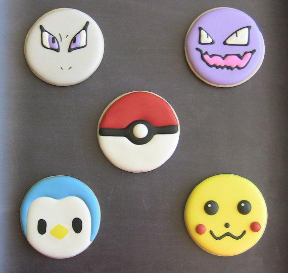 One Dozen 12 Pokemon Full Sized Decorated Sugar by DolceDesserts, $36.00