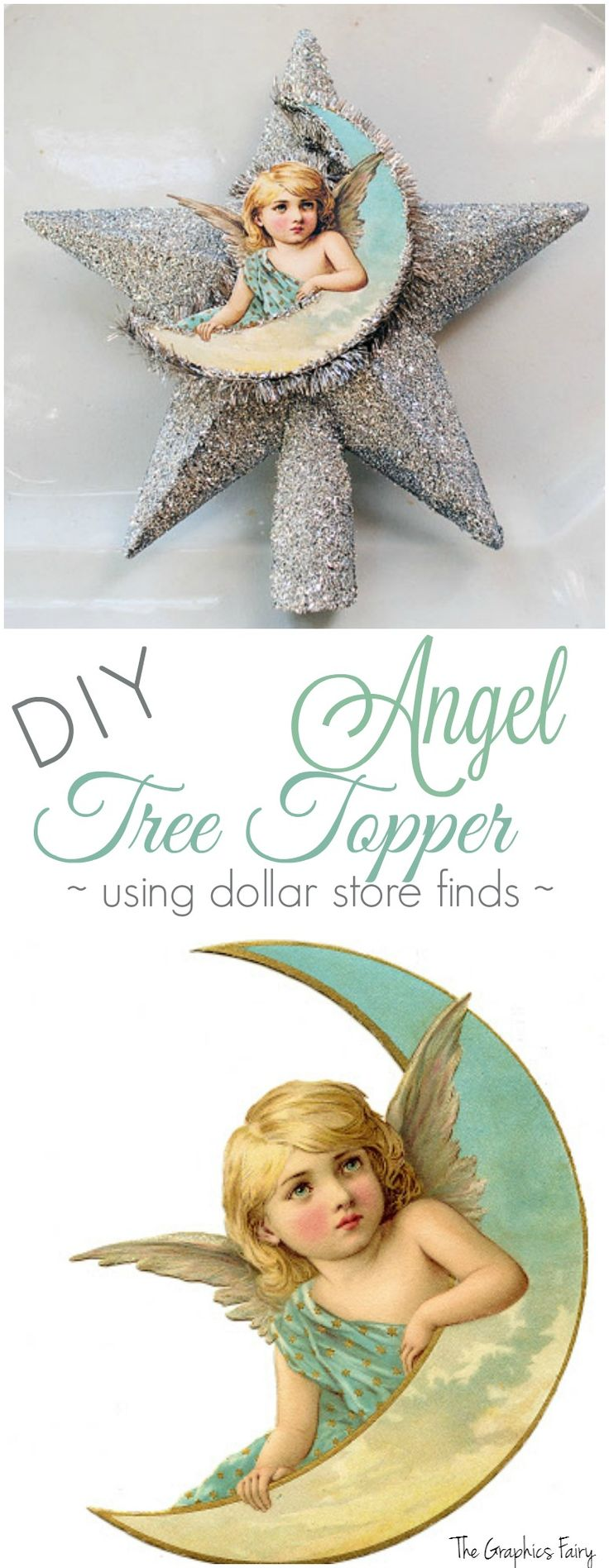 DIY Craft Tutorial. How to Make an Angel Tree Topper - Dollar Store Decorating - The Graphics Fairy