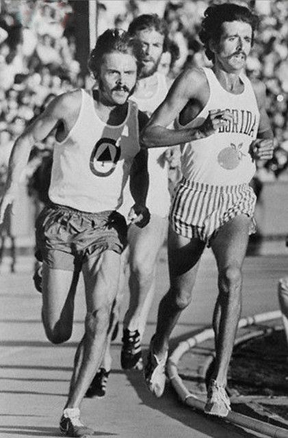 Pre passes Frank Shorter 1st lap of 3 mi race June 8, 1974. Both best Gerry Lindgren's 1966 US Record. Pre wins 12min 51.4sec, Shorter 12min 51.9sec