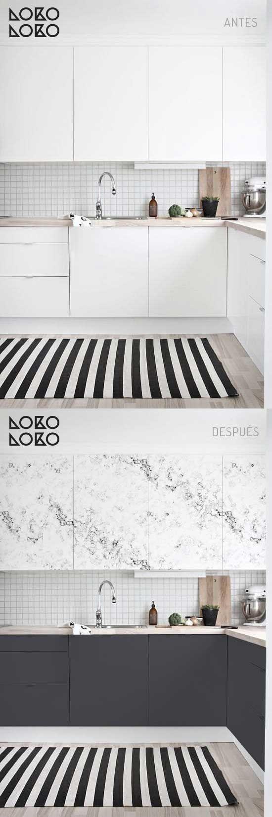 Redecoración de muebles de cocina con vinilo de texturas y colores planos · #lokolokodecora