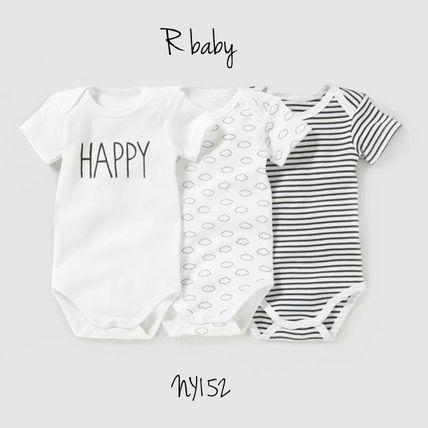R Baby ベビーウェア・ロンパース R baby ロゴ、雲、ストライプ♪半袖ボディー3枚セット*グレー                                                                                                                                                                                 もっと見る