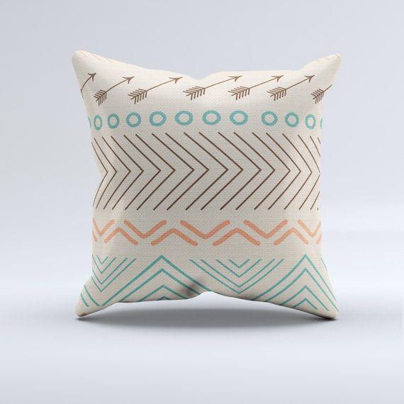 Modern Aztec Pillows : Aztec throw pillow, throw pillow, modern pillow, blue, turquoise, coral, aztec, arrow, home ...