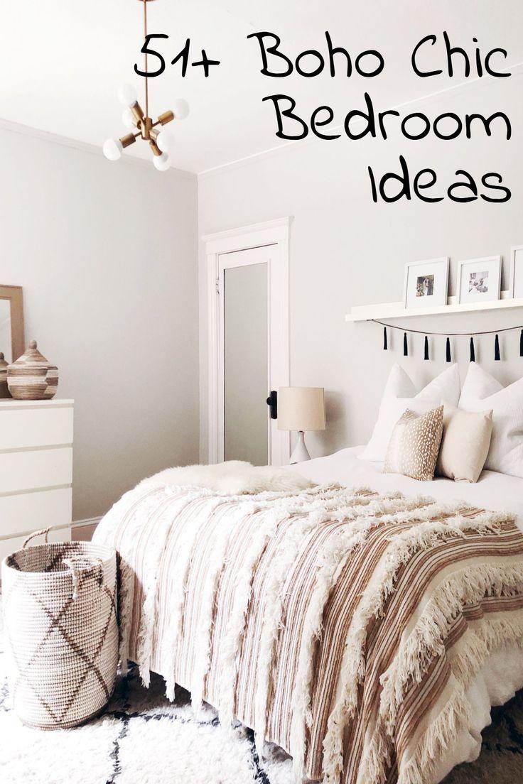 51 Boho Chic Bedroom Ideas Modern Bohemian White Glam Bedroom Decor Simple Bedroom Decor Home Decor Bedroom Trending Decor