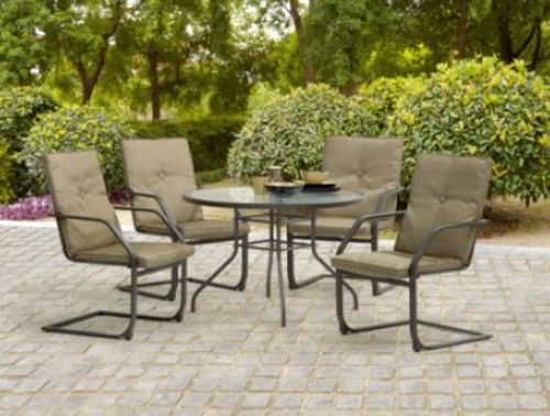 5 Piece Round Dining Set Patio Furniture Glass Top Table & 4 Chairs Outdoor Set #Mnstaysay