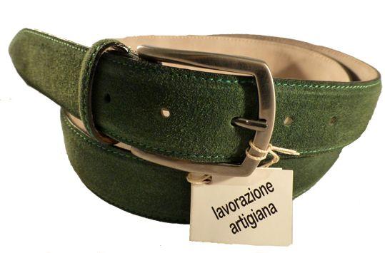 Suede leather belt for men, Florentine leather