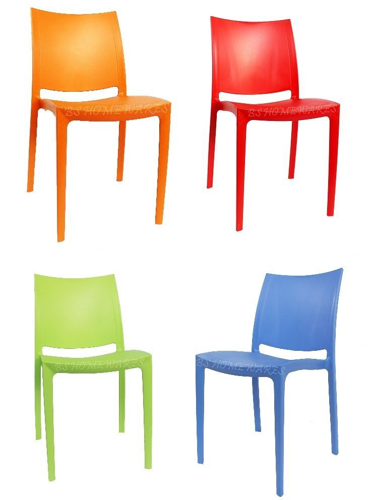 Plastic Armless Chairs Garden Patio Outdoor Picnic Party Kitchen Stackable Chair