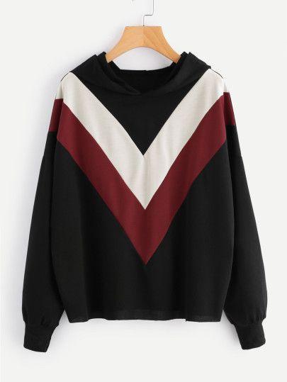 Hooded Color Block SweatshirtFor Women-romwe