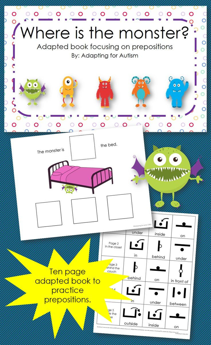 Adapted book - Where is the Monster? Students choose the correct preposition after looking at the picture and finding the monster.