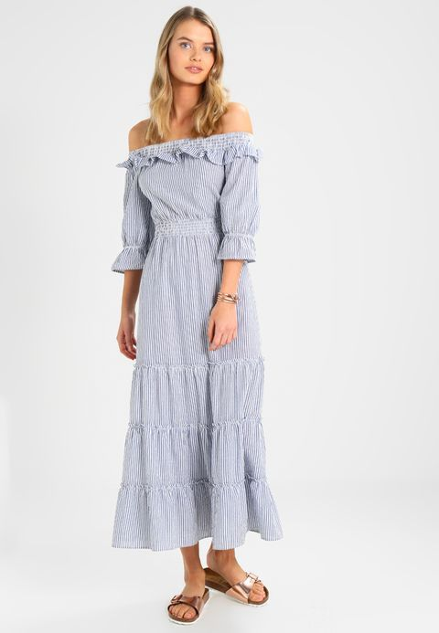 NA-KD DEBIFLUE OFF SHOULDER ANKLE DRESS - Maxi dress - blue/white for £54.99 (06/03/18) with free delivery at Zalando