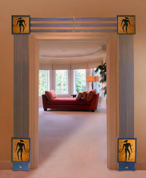 Stuck for space in a room for a heat source. maybe a radiator designed specifically for around a doorway, could help your interior designer find a solution, bespoke sizes are the normal requirement as nothing is standard