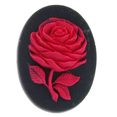 Cameo, 25x18mm, rose, red on black, plastic