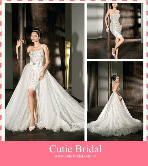 Wedding gown with removable skirt bridal dress short for Removable tulle skirt wedding dress