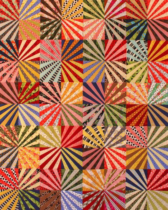 Riesenrad Quilt Pattern, Fan Quilt, Spaß Scrap Quilt, pdf von KarenGriskaQuilts