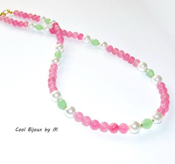 Strawbery necklace jade and Mallorca pearls necklace