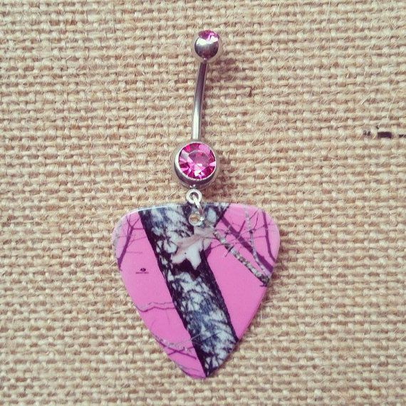 Pink mossy oak camo Guitar Pick Dangle Belly Button Ring by Featherpick, $12.00