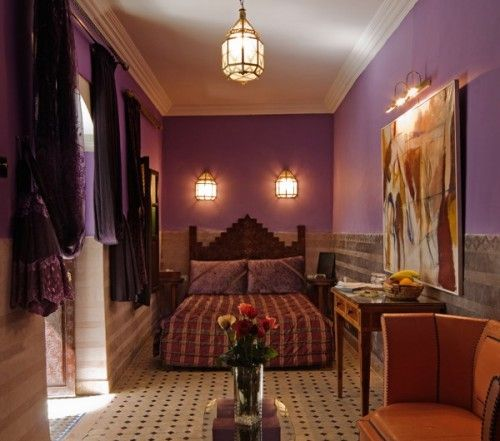 Attractive Moroccan Style Bedroom, Purple Walls, Drapes