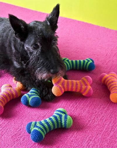 Doggie toys. Don't do this because then they think anything made of yarn is to chew on!