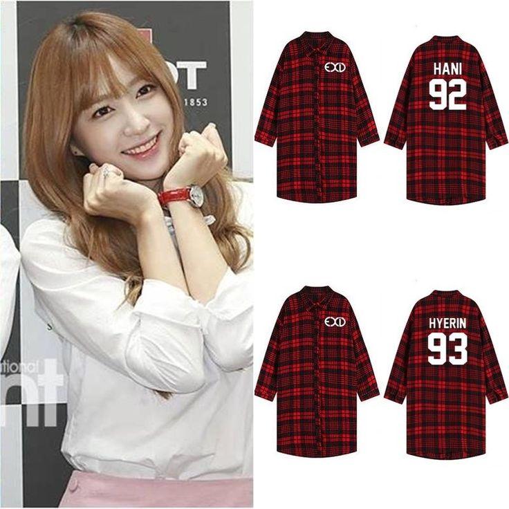 Kpop Exid Concert Clothes Same Paragraph Shirt Plaid Long Section Coat T-Shirt