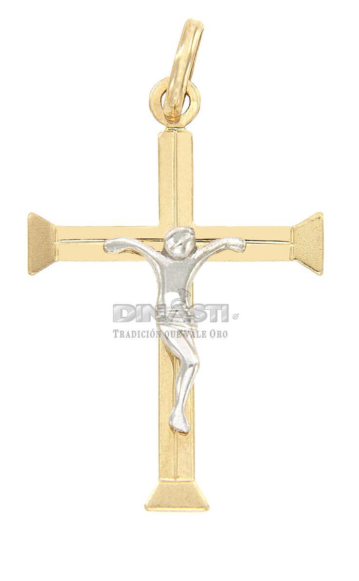 SKU CRSOR0016 CRUZ DE ORO AMARILLO MATE EN SUS TERMINACIONES Y PULIDO CON PASO A DESNIVEL Y CRISTO EN ORO BLANCO MATE ventas@dinasti.com #ReligiousCharm #fashion #jewelry #Cristosdeoro #cristos #cruces #articulosreligiosos #dijesreligiosos