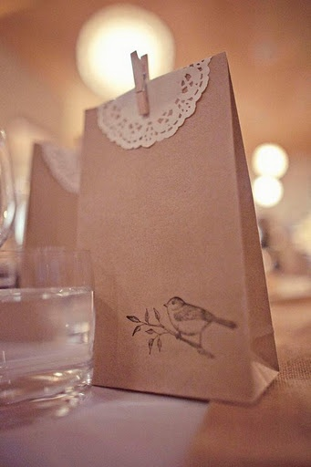 Doilie bird baggie... for candy bar.. @Jennifer Milsaps L Salazar