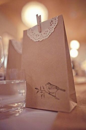 Doilie bird baggie... for candy bar.. @Jennifer Milsaps L Salazar