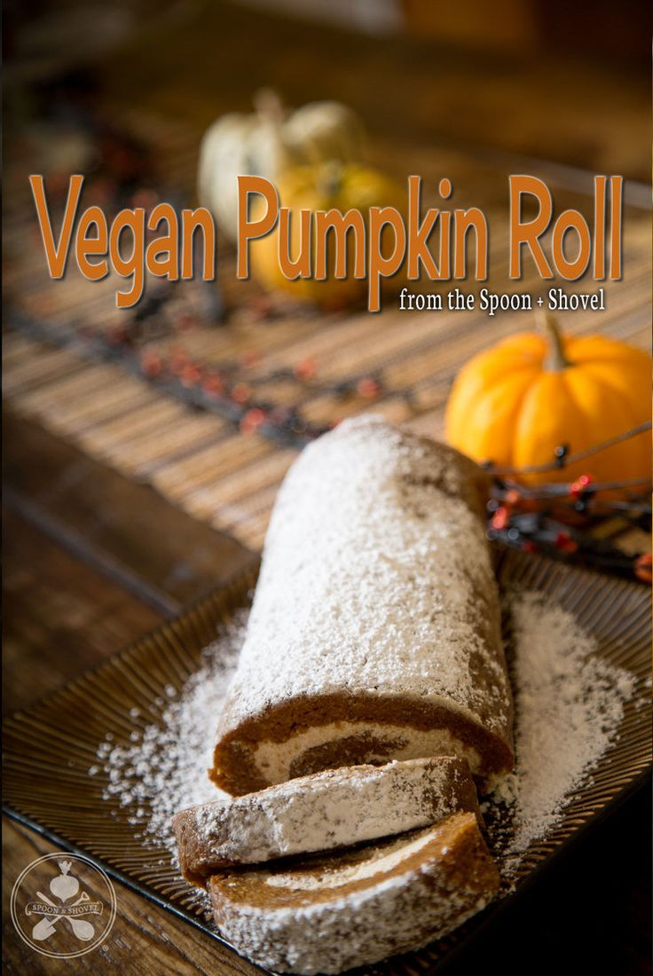 Vegan pumpkin roll with cashew cream cheese filling from The Spoon + Shovel