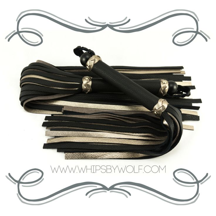 A beautiful handmade leather flogger set. Build out of champange and black leather. Now for sale at: http://www.whipsbywolf.com/product/black-champagne-leather-flogger-set/