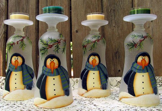 "LOVE these pretty ""wine glass candle holders"" from PaintingByEileen on Etsy! Check out her shop! Penguin Glass Tealight Holder Hand Painted by PaintingByEileen, $12.00"
