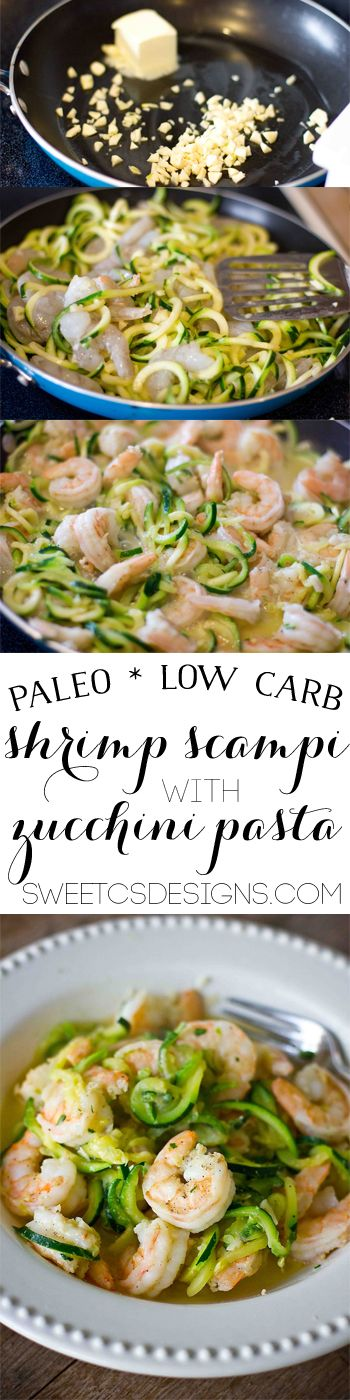 low carb shrimp scampi- with paleo friendly zucchini pasta! This is a delicious, healthy dish you can make in minutes! New favorite zucchini dish! CAD