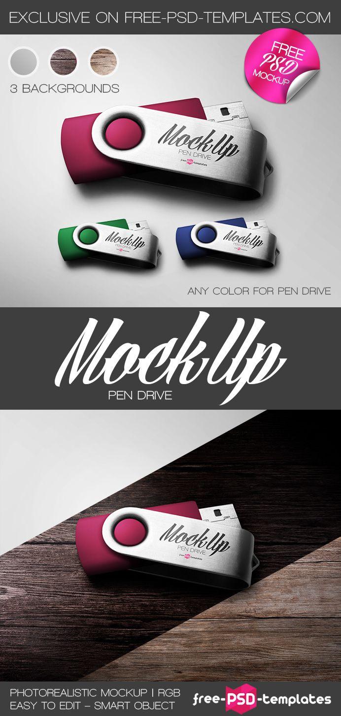 Free Pen Drive Mock-up | free-psd-templates.com | #free #photoshop #mockup #pen #drive