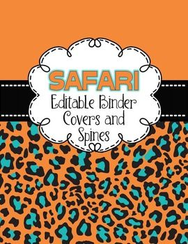 Customize  your old or new  binders with these safari, animal themed EDITABLE binder covers and matching spines! Simply insert a text box and use whatever font style, font color or font size that you wish. You may also choose to insert a desired clipart to adorn these versatile covers.In this set you will get 20 different covers to choose from, that is 20 different color combinations with matching spines, sizes  for 1 inch, 1.5 inch, 2 inch, & 3 inch binders.
