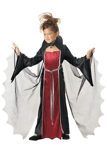 $19.99 In this Girls Vampire Costume, you can have a spooky, kooky, altogether ooky Halloween! Add vampire makeup and a wig for a complete effect.