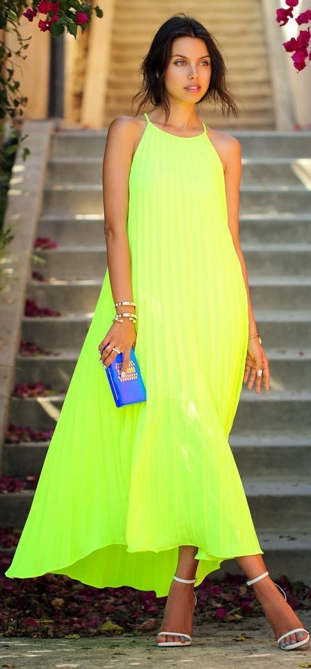 Line & Dot Neon Lime Fluttery Accordion Pleat Maxi Cami Dress by Vivaluxury