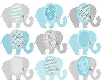 Blue Elephant, Baby Shower Invitation Clipart, Baby Boy Clip Art, Elephant  Graphics
