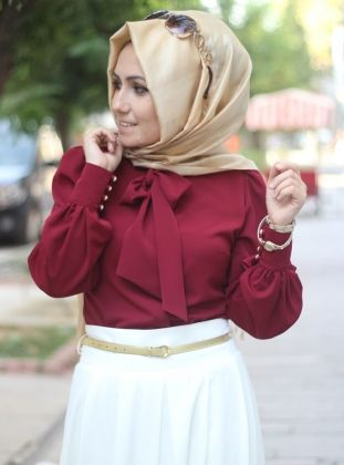 Ribboned Shirt 1008 - Red - Pinar Sems
