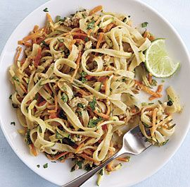 Spicy Peanut Noodles with Ground Pork and Shredded Vegetables---->very tasty and easy! the WHOLE family liked it. really good for a summer meal as it isn't a piping hot dish. i love that the veggies are left raw.