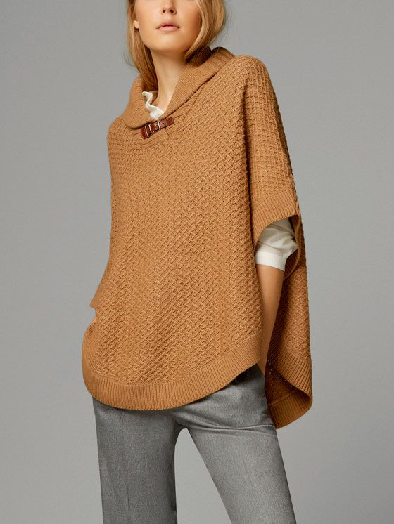 CABLE-KNIT CAPE WITH SHAWL COLLAR