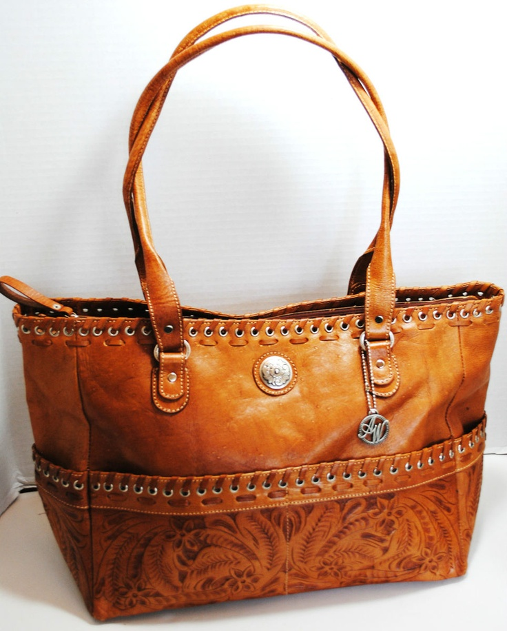 American West Womens Brown Leather Tote Handbag Purse 389