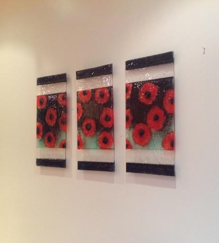 funky glass u2014 poppies fused glass wall art
