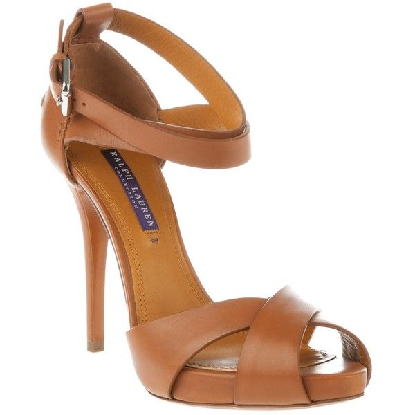 RALPH LAUREN 'Jessira' sandal (2,875 GTQ) ❤ liked on Polyvore featuring shoes, sandals, heels, zapatos, pumps, brown leather shoes, heeled sandals, ankle strap heel sandals, strappy heel sandals and ralph lauren sandals