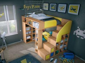 lit compact mezzanine avec bureau