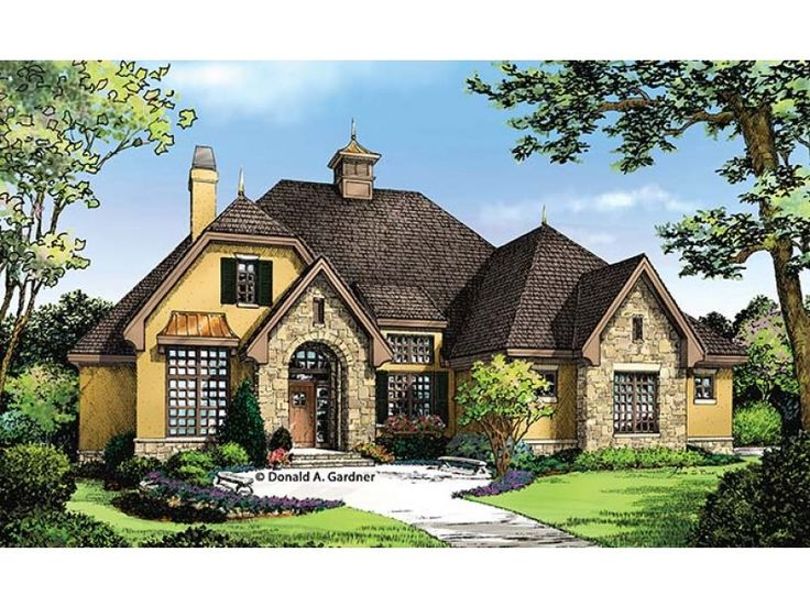 its hard to decide whats more impressive this homes beautiful stucco and stone exterior or its efficient and smart 1715 sq ft layout there - 1 Story French Country House Plans