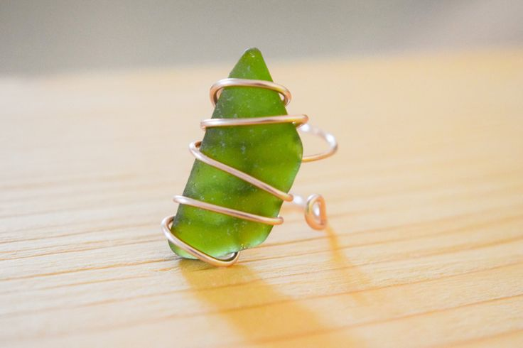 SUMMER SALE! Silver plated rose gold wire wrapped genuine olive green sea glass, adjustable ring, statement ring, boho ring by Christinasfamily on Etsy