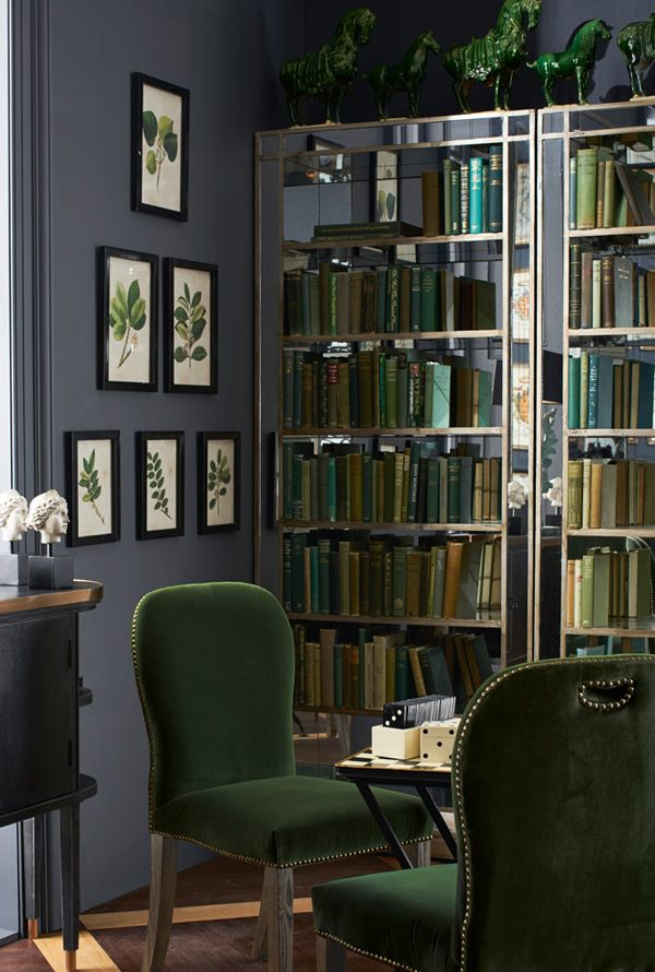 These impressive hand-made bookshelves from OKA feature six fixed mirrored glass shelves, which have been specially antiqued then edged with wood painted antique gold.