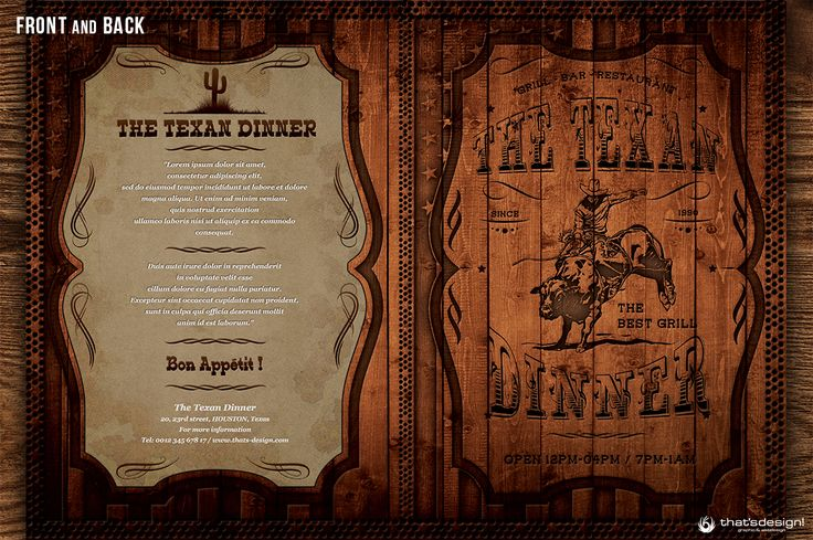 Western Grill Restaurant Menu Card by Thats Design Store on @creativemarket