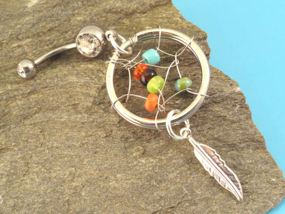 Dream Catcher Belly Button Ring Silver Feather Barbell Navel Piercing: Silver Feathers, Belly Buttons Rings, Navel Piercing, Belly Button Rings, Dreams Catcher, Rings Silver, Barbell Navel, Catcher Belly, Feathers Barbell