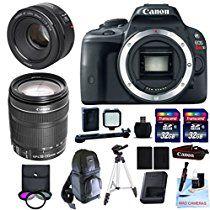 Canon EOS REBEL SL1 + Canon 18-135mm f/3.5-5.6 STM Standard Zoom Lens + 50mm F/1.8 STM + 2 32GB Transcend SD Memory Cards + 3 Piece Filter Kit + DSLR Sling Bag & More - International Version