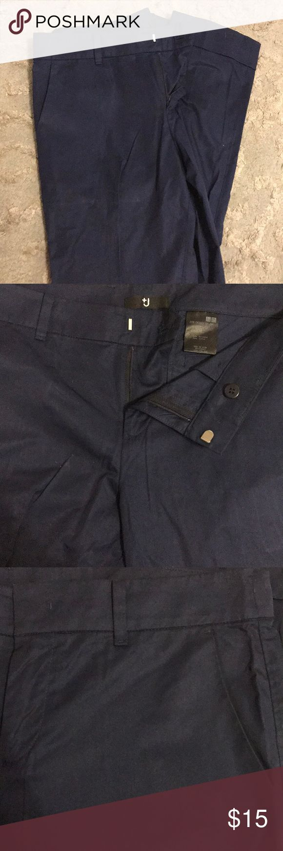 Navy Blue Uniqlo Size 2 Slacks -Never Worn! Received these as a gift. Never able to wear them because they were too small from the start. They are so soft and comfy on the skin. Cute slits in the front and cuff at the bottom. Perfect condition! Uniqlo Pants
